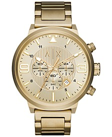 A|X Men's Chronograph Gold-Tone Stainless Steel Bracelet Watch 49mm AX1368
