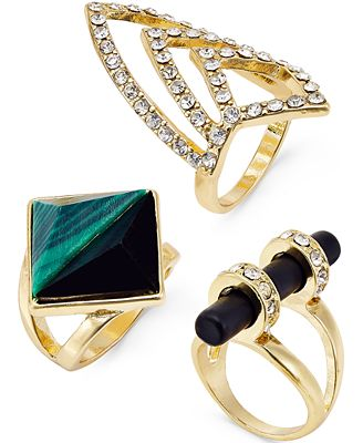 Bar III Gold-Tone Stone and Pavé Ring Trio Set, Only at Macy's
