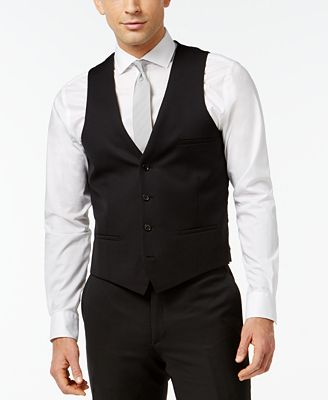 Bar Iii Black Solid Slim Fit Vest