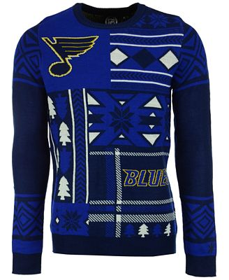 Forever Collectibles Mens St Louis Blues Patches Christmas Sweater