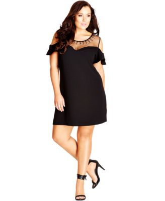 City Chic Plus Size Embellished Illusion-Neckline A-Line Dress