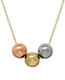 Three-Bead Tri-Tone Necklace in 10k Gold