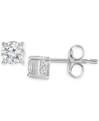 TruMiracle Diamond Stud Earrings 1 2 ct t w in 14k White Gold