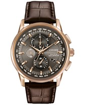 be83defdcbf Citizen Men s World Chronograph Time AT Eco-Drive Brown Leather Strap Watch  43mm AT8113-