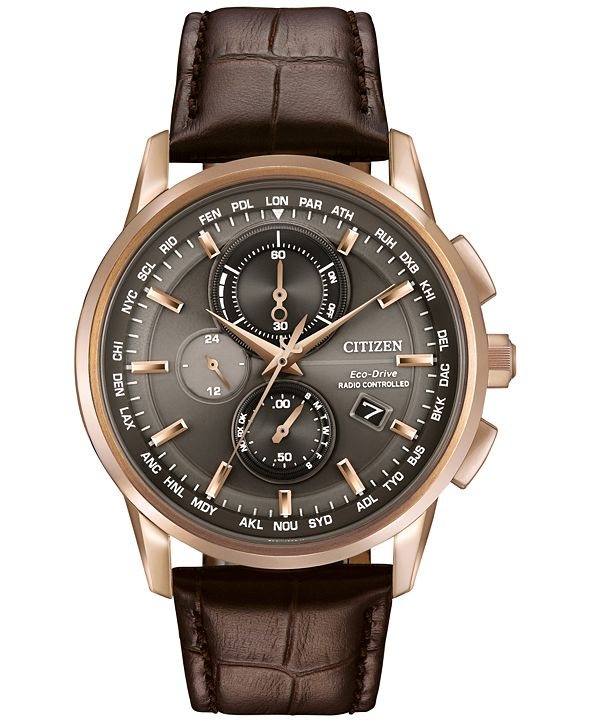 Citizen Men's World Chronograph Time AT Eco-Drive Brown Leather Strap Watch 43mm AT8113-04H