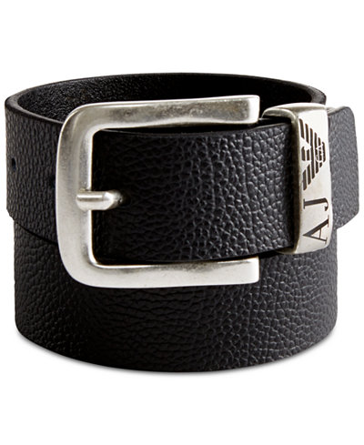 Armani Jeans Pebbled Leather Gift Boxed Belt - Accessories & Wallets - Men - Macy's