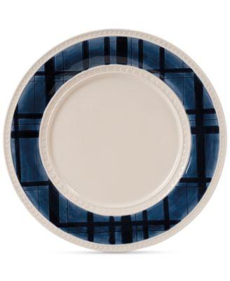 Stoneware Bristol Indigo Tartan Dinner Plate