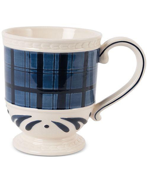 Fitz and Floyd Stoneware Bristol Indigo Tartan Mug