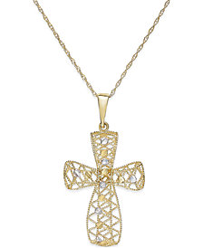 Two-Tone Filigree Cross Pendant Necklace in 14k Gold