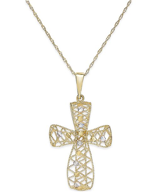 Macy's Two-Tone Filigree Cross Pendant Necklace in 14k Gold