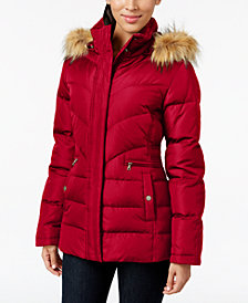 Larry Levine Faux-Fur-Trim Hooded Puffer Coat