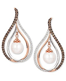 Chocolatier® Fresh Water Pearl (8mm) and Diamond (7/8 ct. t.w.) Drop Earrings in 14k White and Rose Gold
