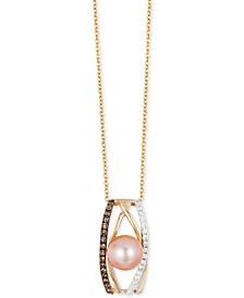 Chocolatier® Pink Freshwater Pearl (8mm) and Diamond (1/4 ct. t.w.) Pendant Necklace in 14k White, Yellow and Rose Gold