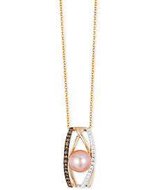 Le Vian Chocolatier® Pink Freshwater Pearl (8mm) and Diamond (1/4 ct. t.w.) Pendant Necklace in 14k White, Yellow and Rose Gold