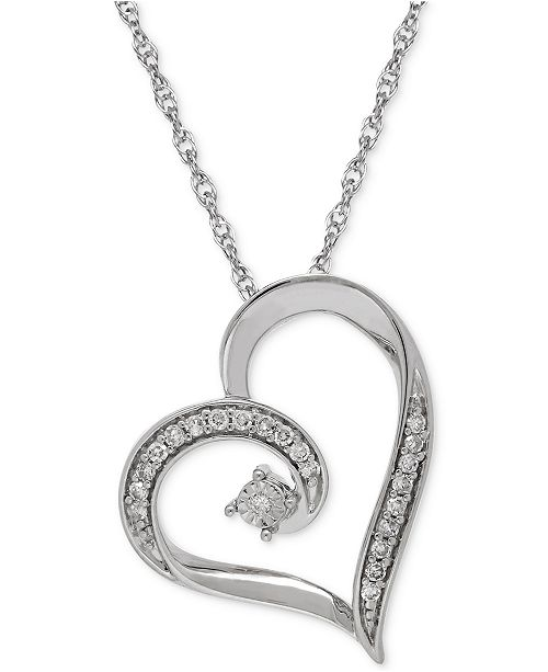 Macy's Diamond Heart Pendant Necklace (1/10 ct. t.w.) in Sterling Silver