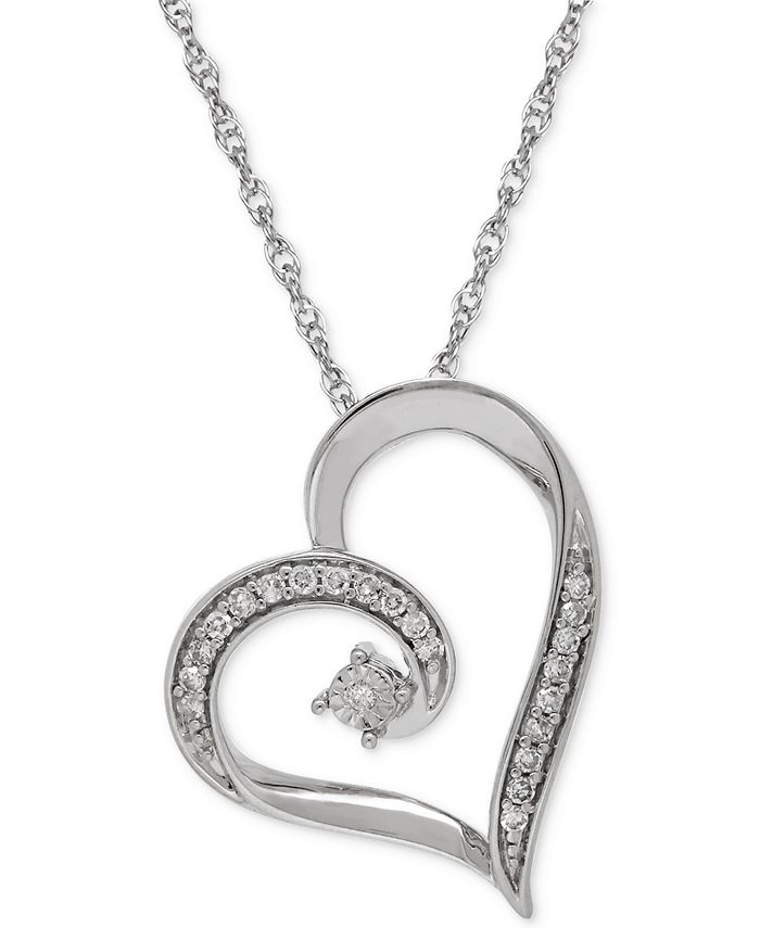 Macy's - Diamond Heart Pendant Necklace in Sterling Silver (1/10 ct. t.w.)