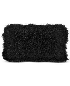 "CLOSEOUT! Donna Karan Home Reflection 11"" x 22"" Ebony Faux Fur Decorative Pillow"