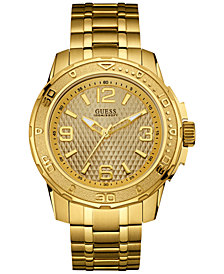 GUESS Men's Gold-Tone Stainless Steel Bracelet Watch 46mm U0681G2