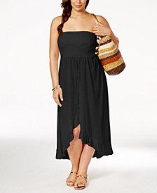 Raviya Plus Size Smocked Waterfall Cover-Up Dress