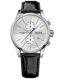 BOSS Hugo Boss Men's Chronograph Jet Black Leather Strap Watch 41mm 1513282