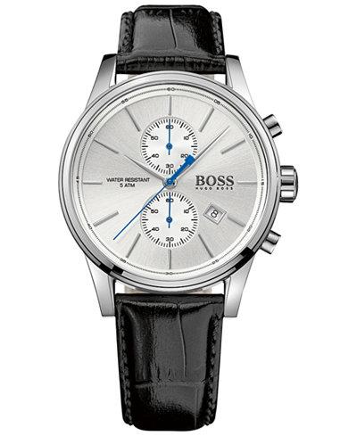BOSS Hugo Boss Men's Chronograph Jet Black Leather Strap Watch 41mm 1513282