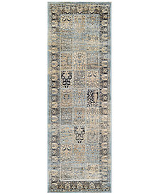"CLOSEOUT! Couristan HARAZ HAR999 Blue 2'7"" x 7'10"" Runner Rug"