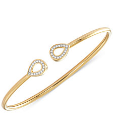 wrapped™  Diamond Teardrop Flexy Bangle Bracelet (1/6 ct. t.w.) in 14k Gold-Plated Sterling Silver, Created for Macy's