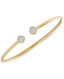 Diamond Square Flexy Bangle Bracelet (1/6 ct. t.w.) in 14k Gold-Plated Sterling Silver, Created for Macy's