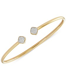 wrapped™ Diamond Square Flexy Bangle Bracelet (1/6 ct. t.w.) in 14k Gold-Plated Sterling Silver, Created for Macy's