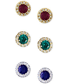 EFFY Sapphire, Ruby, or Emerald Gemstone and Diamond Stud Earrings in 14k Gold or White Gold