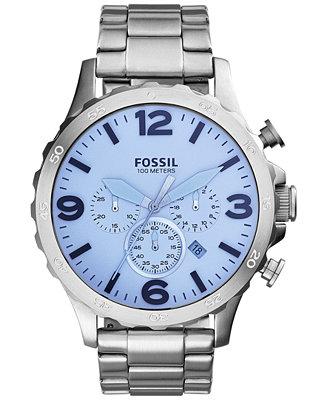 Fossil Men's Chronograph Nate Stainless Steel Bracelet