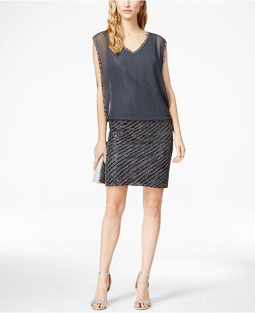 5c16f034d43e J Kara Chiffon Beaded Sequined Blouson Dress & Reviews - Dresses ...