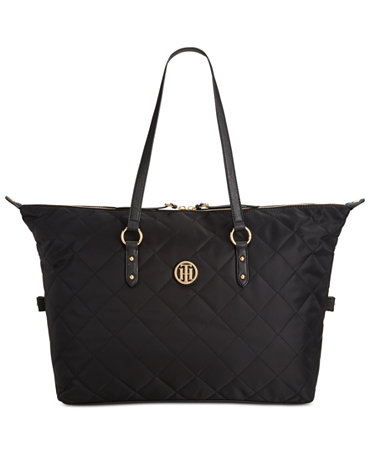 tommy hilfiger quilted nylon weekender handbags accessories macy 39 s. Black Bedroom Furniture Sets. Home Design Ideas