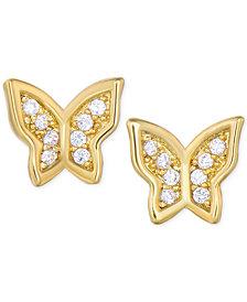 Children's Cubic Zirconia Butterfly Stud Earrings in 18k Gold over Sterling Silver