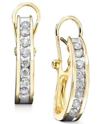 Diamond Hoop Earrings In 10k Yellow Or White Gold 1 Ct T W Jewelry Watches Macy S
