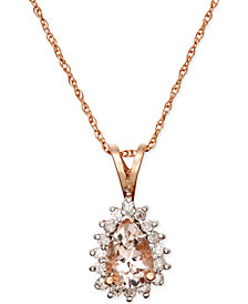 Morganite (3/5 ct. t.w.) and Diamond (1/6 ct. t.w.) Pendant Necklace in 14k Rose Gold