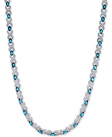 Blue Topaz (20 ct. t.w.) and Diamond Accent Collar Necklace in Sterling Silver
