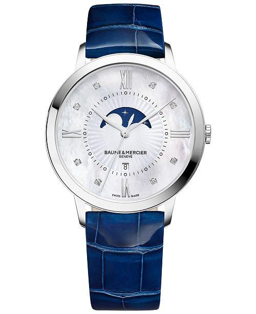 Baume & Mercier Women's Swiss Classima Diamond Accent Blue Leather Strap Watch 37mm M0A10226