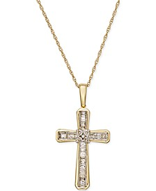 Diamond Cross Pendant Necklace (1/5 ct. t.w.) in 10k Gold