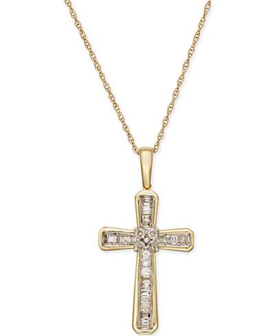 Diamond Cross Pendant Necklace (1/5 ct. t.w.) in 10k Gold
