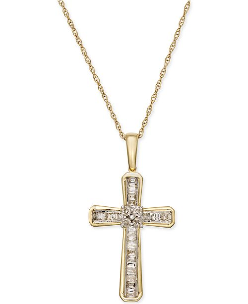Macy's Diamond Cross Pendant Necklace (1/5 ct. t.w.) in 10k Gold