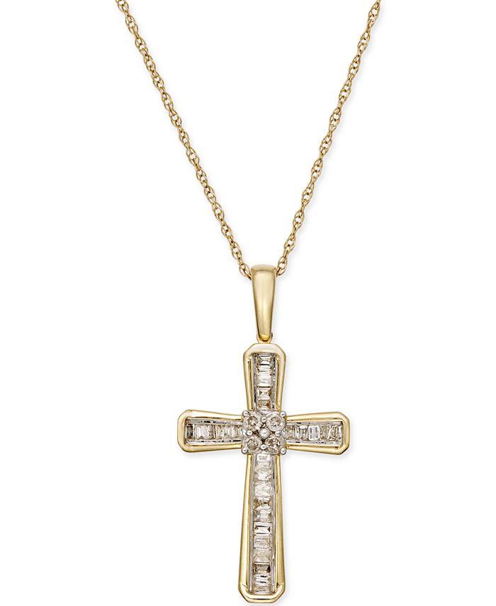 Macy's - Diamond Cross Pendant Necklace (1/5 ct. t.w.) in 10k Gold