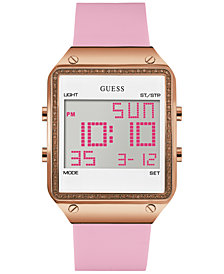 GUESS Women's Pink Silicone Strap Watch 55x38mm U0700L2