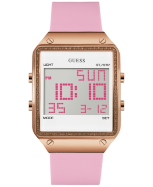 Guess Women's Pink Silicone Strap Watch 55x38mm U0700L2