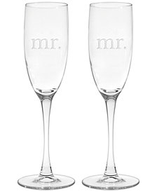 Mr. & Mrs. Champagne Flutes, Set of 2