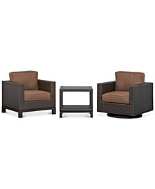 CLOSEOUT! Katalina Outdoor Wicker 3-Pc. Seating Set (1 Club Chair, 1 Swivel Glider and 1 End Table), with Sunbrella® Cushions, Created for Macy's