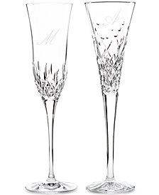 Waterford Monogram Set Of 2 Toasting Flutes Collection, Script Letters