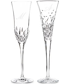 Waterford Monogram Toasting Flute  Pair Collection, Script Letters