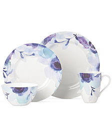 Lenox Indigo Watercolor Floral  Porcelain 4-Pc. Place Setting, Created for Macy's