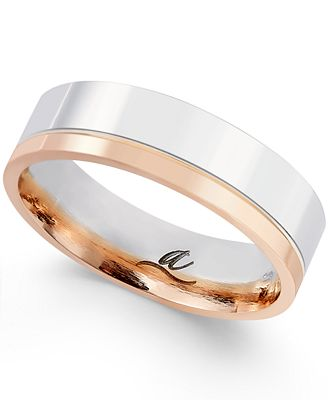 Macy S Two Tone Two Row 5mm Wedding Band In 18k White And Rose Gold